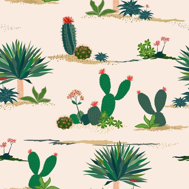 Main, Dessin De Modèle Sans Couture De Cactus Et Plantes Succulentes Sur Fond Pastel Vecteur Premium