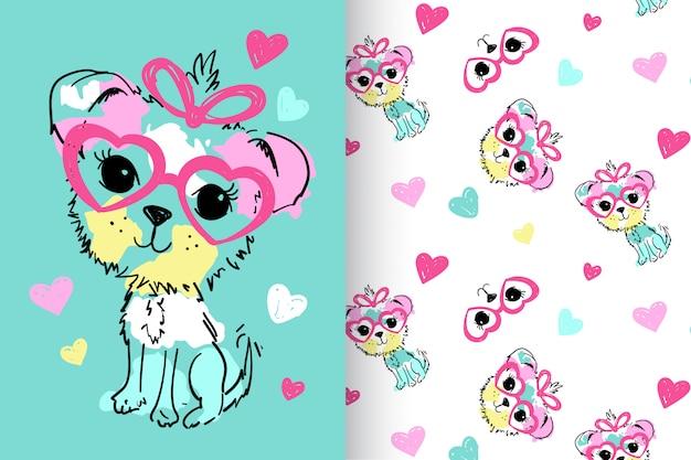 Main dessiné chien mignon avec set vector pattern Vecteur Premium