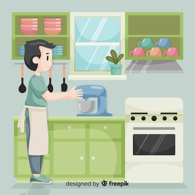 Main dessiné cuisine fond Vecteur gratuit