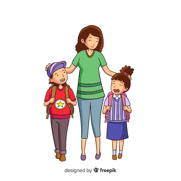 Main dessiné des écoliers avec leurs parents Vecteur gratuit