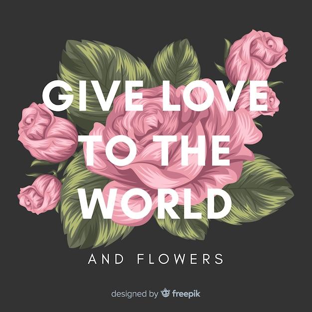 Main Dessiné Fond Floral Avec Slogan Vecteur gratuit