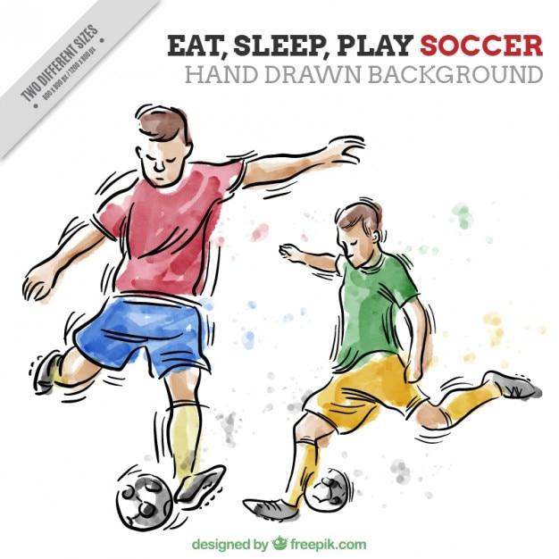 Main dessiné footballeurs aquarelle fond Vecteur gratuit