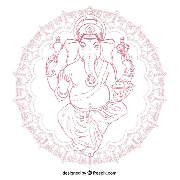 Main Dessiné Ganesha Vecteur Premium