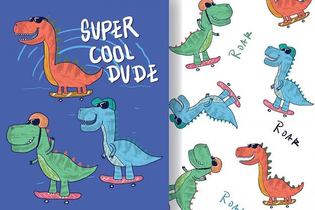 Main a dessiné un joli dinosaure avec motif modifiable Vecteur Premium
