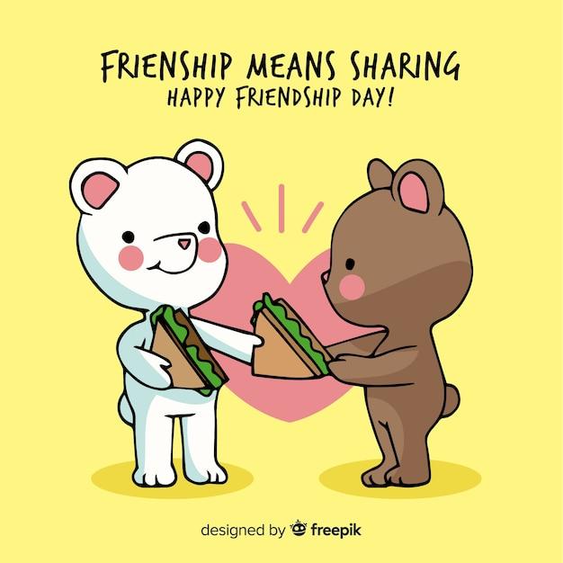 Main dessiné ours fond de journée de l'amitié Vecteur gratuit