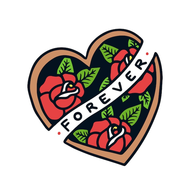 Main dessiné pour toujours signe en forme de coeur avec illustration de tatouage old school roses Vecteur Premium
