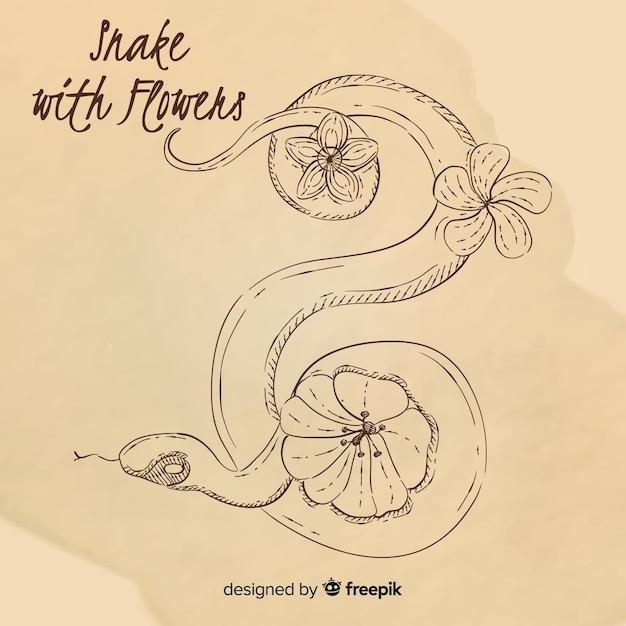 Main dessiné serpent sans couleur avec fond de fleurs Vecteur gratuit