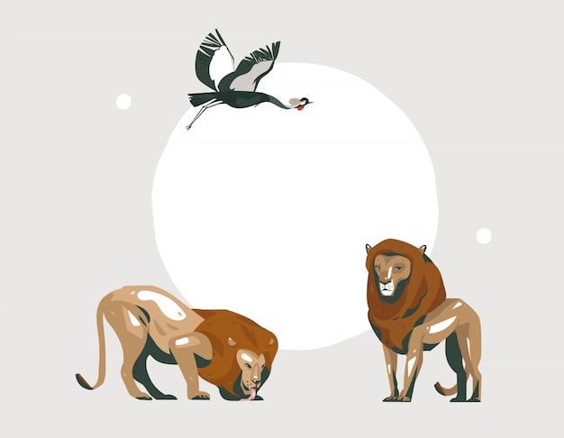 Main Dessinée Abstraite Dessin Animé Moderne African Safari Collage Illustrations Art Avec Des Animaux De Safari Sur Fond De Couleur Pastel Vecteur Premium
