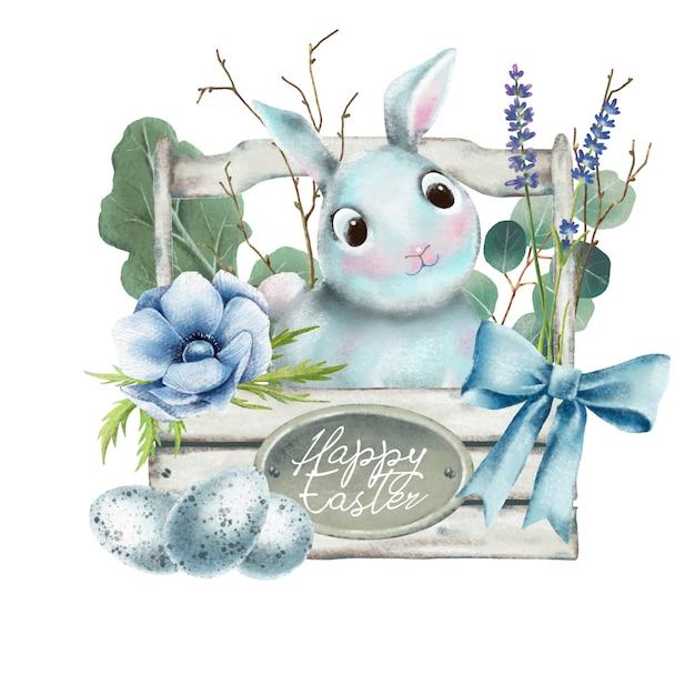 Main dessinée aquarelle de lapin de pâques dans un panier en bois Vecteur Premium