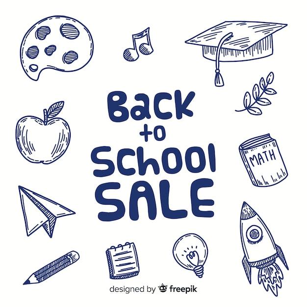 Main dessinée à l'arrière-plan des ventes de l'école Vecteur gratuit