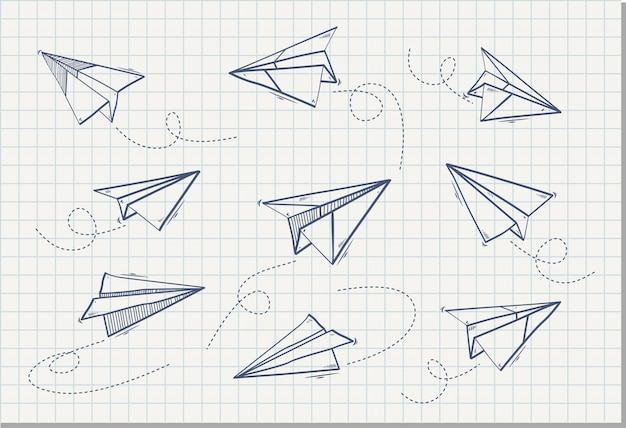 Main dessinée d'avion en papier, illustration vectorielle Vecteur Premium