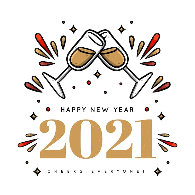 Main Dessinée Bonne Année 2021, Grillage Avec Champagne Vecteur Premium