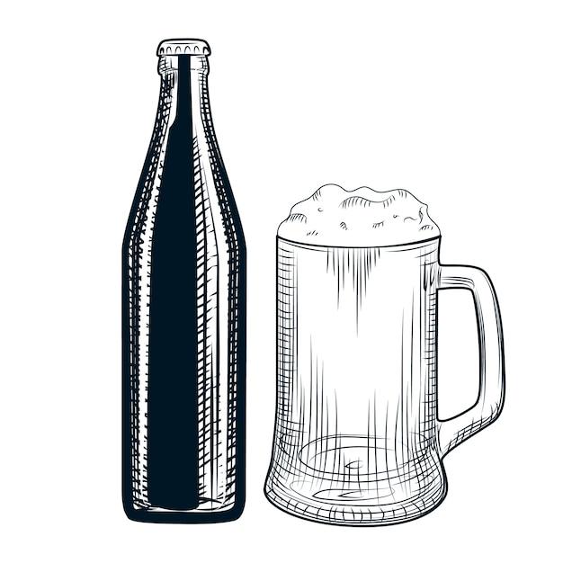 Main dessinée bouteille de bière et chope de bière. Vecteur Premium