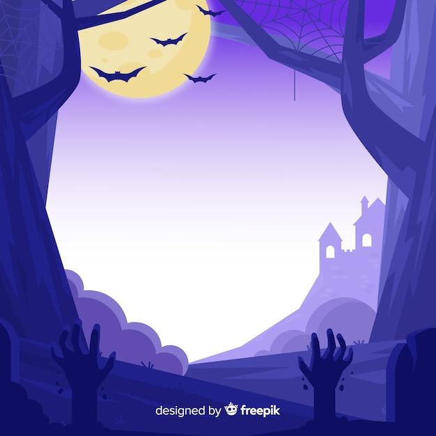 Main dessinée de cadre violet halloween Vecteur gratuit