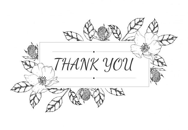 Main dessinée de carte de remerciement floral vide Vecteur Premium