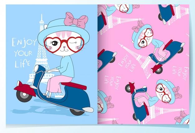 Main dessinée chat mignon chevauchant un jeu de modèle de moto Vecteur Premium