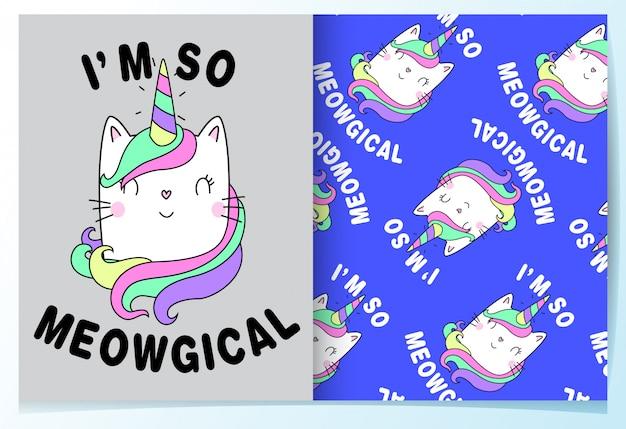 Main dessinée chat mignon avec modèle de slogan Vecteur Premium