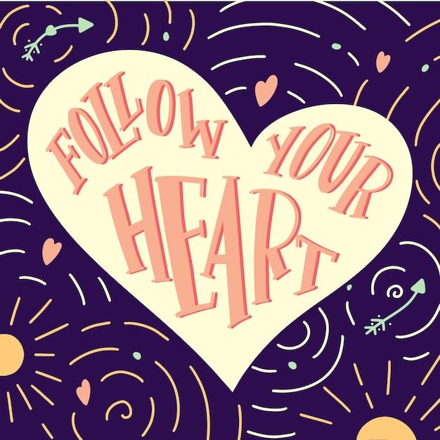Main dessinée coeur avec citation suivre votre coeur Vecteur Premium