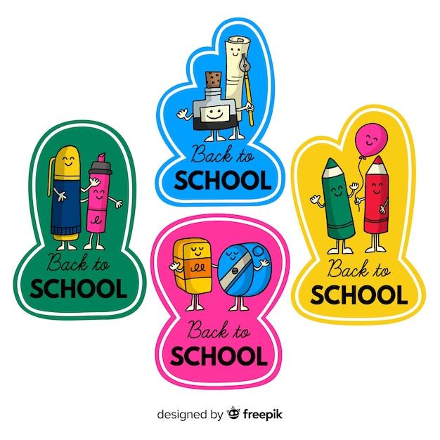 Main dessinée à la collection de badge école Vecteur gratuit