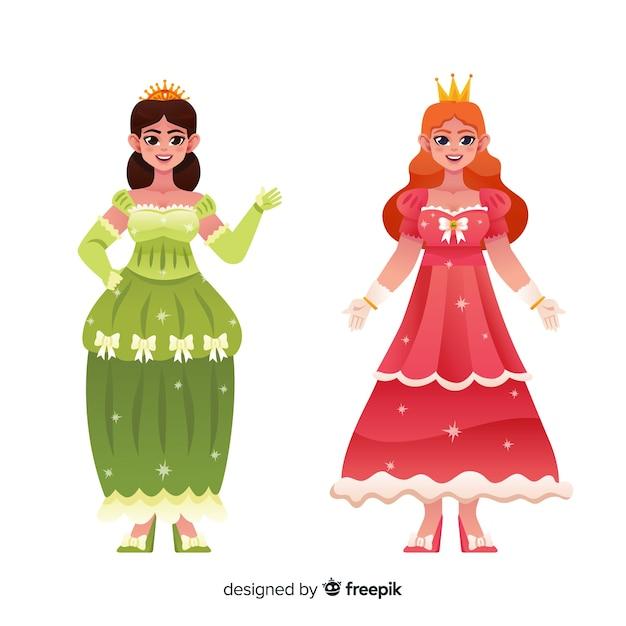 Main dessinée couple de portrait de princesse Vecteur gratuit