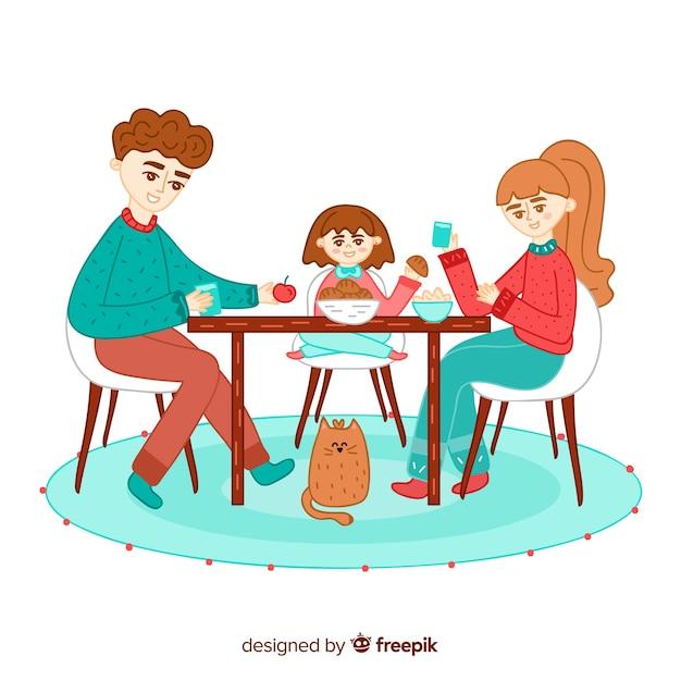 Main Dessinée Famille Assis Autour D'une Illustration De La Table Vecteur gratuit