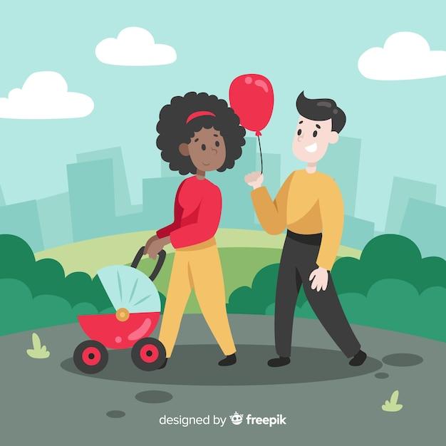 Main dessinée famille ayant une illustration de promenade Vecteur gratuit