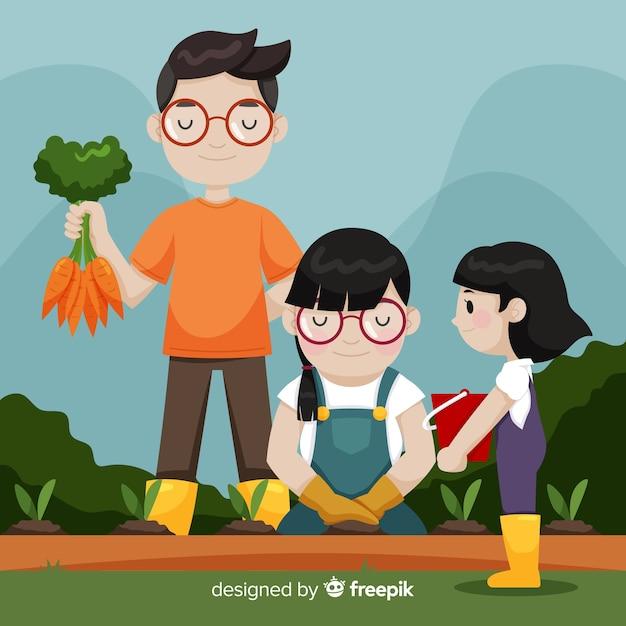 Main dessinée famille cueillette des carottes Vecteur gratuit