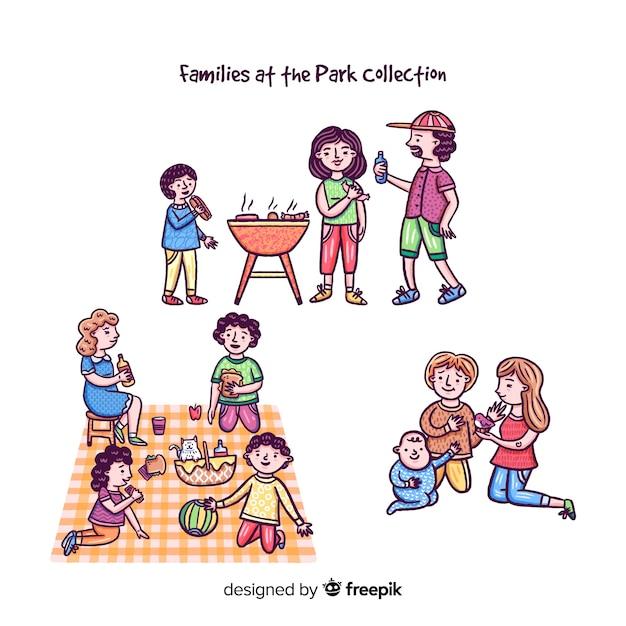 Main dessinée famille dans la collection du parc Vecteur gratuit