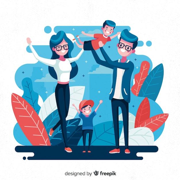Main dessinée famille faisant des activités de plein air Vecteur gratuit