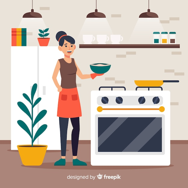 Main dessinée fille cuisine fond Vecteur gratuit