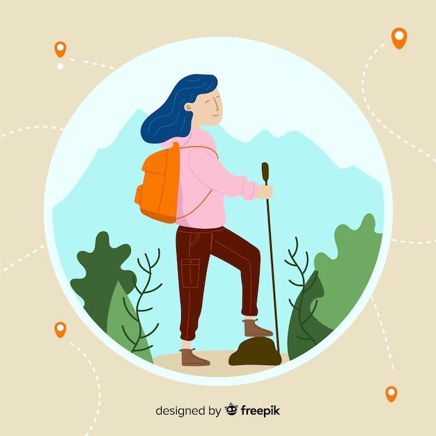 Main dessinée fille voyageant de fond Vecteur gratuit