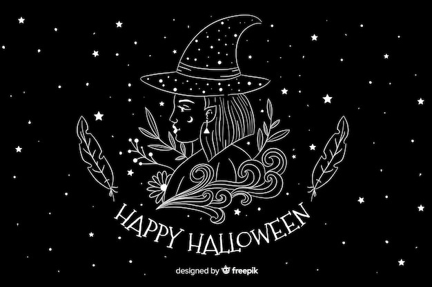 Main dessinée fond d'halloween avec nuit étoilée Vecteur gratuit