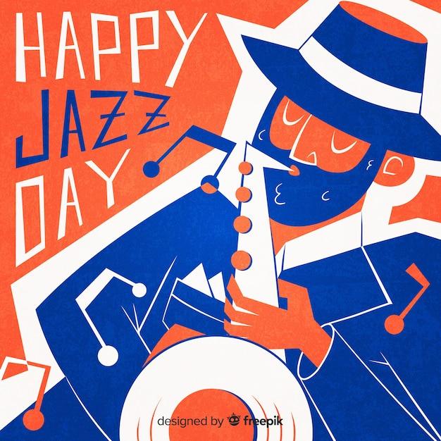 Main dessinée fond de journée internationale de jazz Vecteur gratuit
