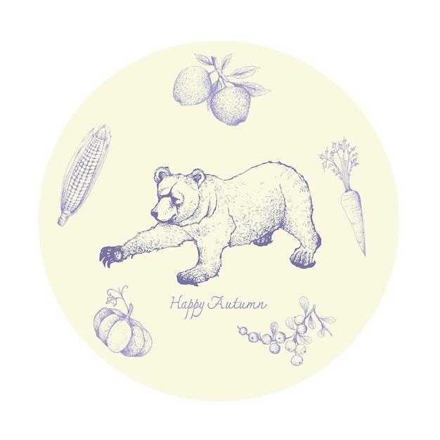Main dessinée de grizzli avec fruits et légumes d'automne Vecteur Premium