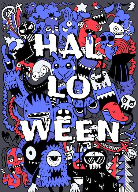 Main dessinée halloween, doodle, ensemble, idées Vecteur Premium