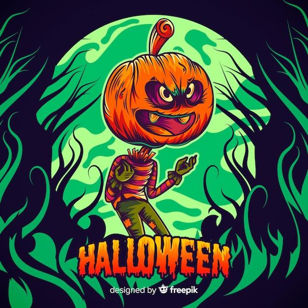 Main Dessinée Halloween Jack-o-lanterne Vecteur gratuit