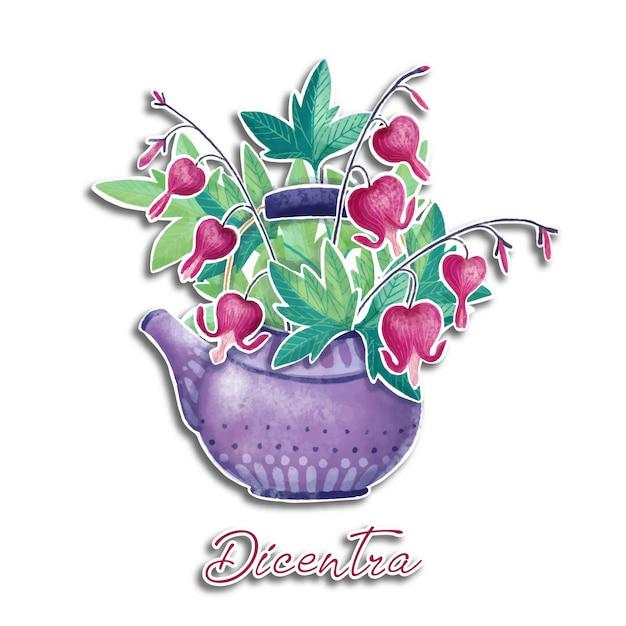 Main dessinée illustration aquarelle de fleurs de dicentra dans la théière Vecteur Premium