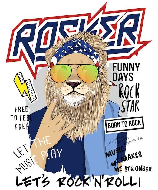 Main dessinée illustration cool lion, vector. Vecteur Premium