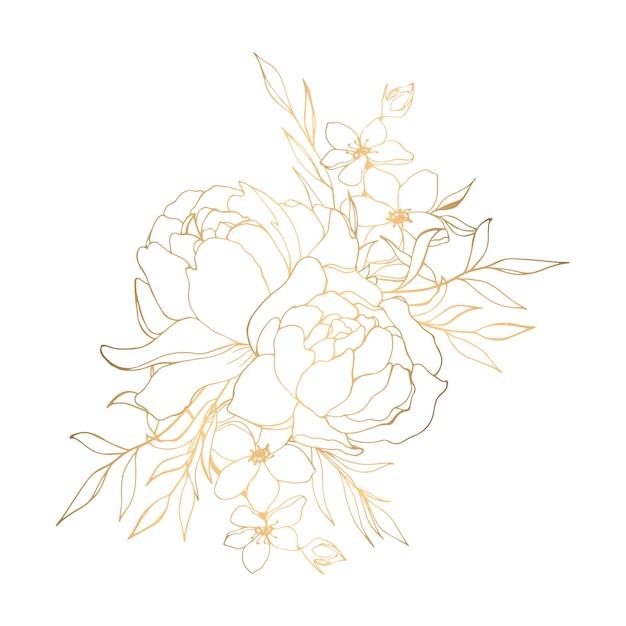 Main dessinée illustration florale dorée avec pivoines Vecteur Premium