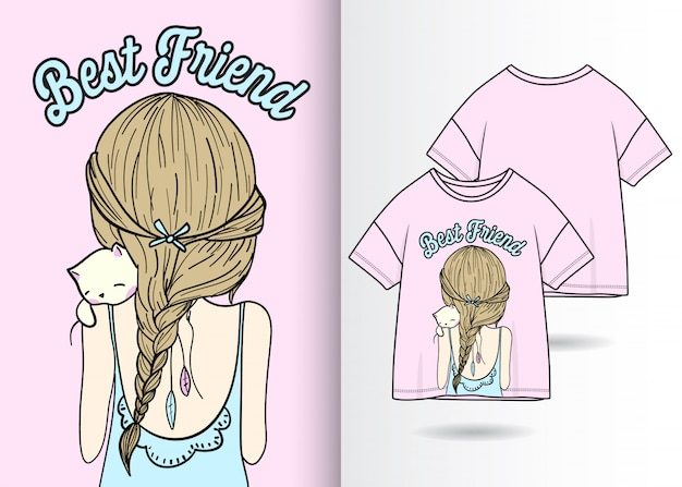 Main dessinée illustration jolie fille avec un design t-shirt Vecteur Premium