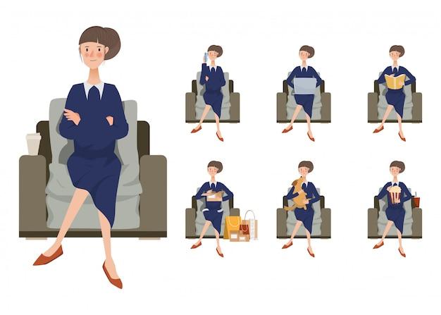 Main dessinée jeune femme assise pose de personnage. Vecteur Premium