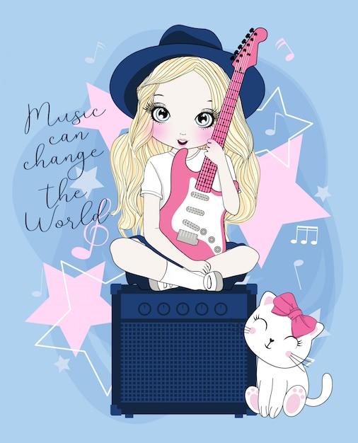 Main dessinée jolie fille jouant de la guitare Vecteur Premium