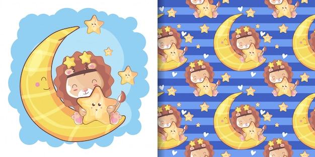 Main dessinée lion mignon heureux avec la lune et le modèle Vecteur Premium
