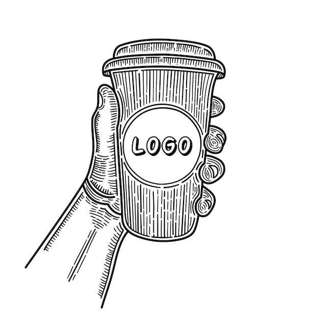 Main Dessinée Mains Tenant Une Tasse De Café. Place Pour Votre Logo. Esquisser. Vecteur Premium
