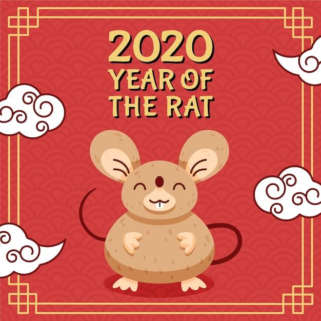 Main dessinée nouvel an chinois Vecteur gratuit