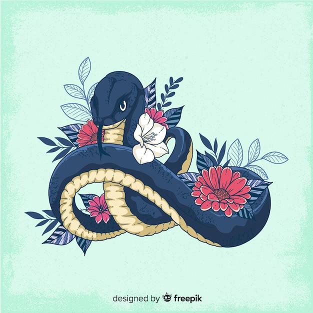 Main dessinée serpent avec fond de fleurs Vecteur gratuit