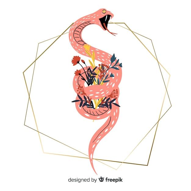 Main dessinée serpent avec fond de formes géométriques Vecteur gratuit
