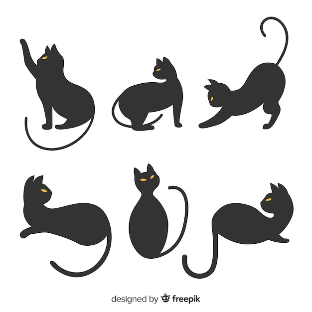 Main dessinée silhouette halloween du chat Vecteur gratuit