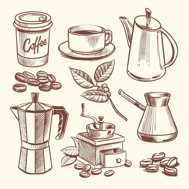 Main Dessinée Tasse à Café, Haricots, Feuilles, Cafetière Et Illustration Vectorielle Moulin à Café Vecteur Premium