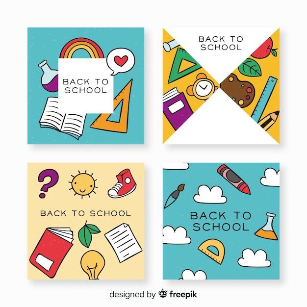Main dessinée vers le modèle de carte d'école Vecteur gratuit